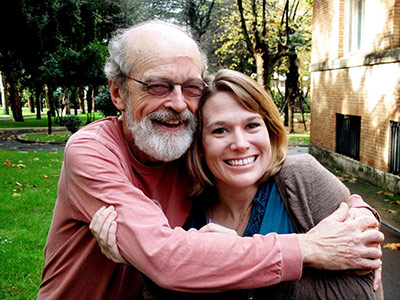 Brother Ed Phelan, FSC, with one of his favorite Lasallians, Heather Ruple Gilson